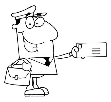 Clipart Illustration of an Outlined Mail Man Vector