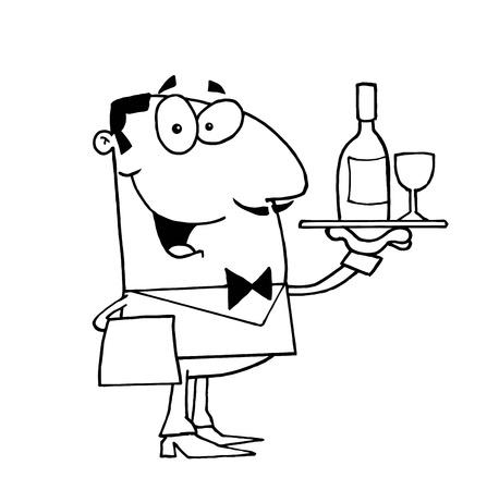 Clipart Illustration of an Outlined Butler Serving Wine 일러스트