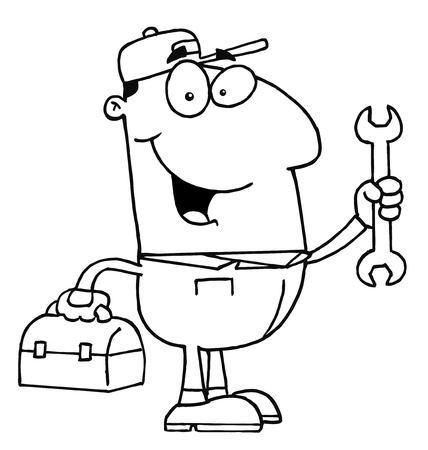 handy: Clipart Illustration of an Outlined Auto Mechanic
