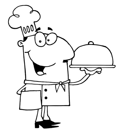 Clipart Illustration of an Outlined Serving Chef Vector