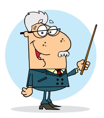 the instructor: Happy Senior Professor Man Illustration