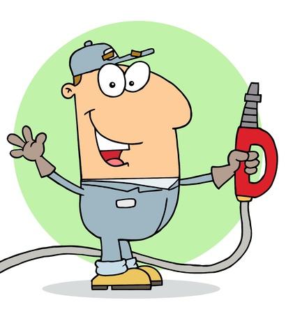 an attendant: Happy Gas Attendant Man Illustration