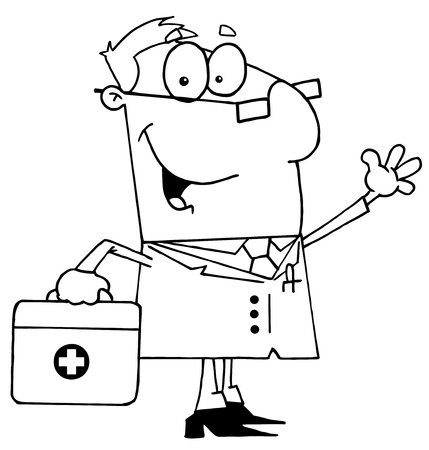 medical drawing: Clipart Illustration of an Outlined Doctor