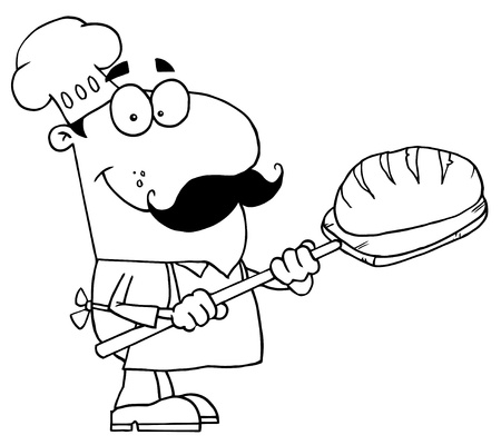 Clipart Illustration of an Outlined Bread Cook Vector