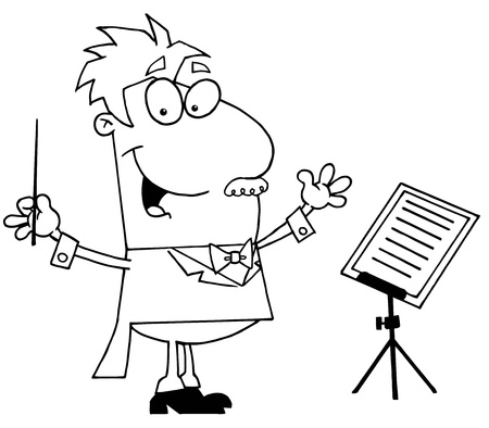 Clipart Illustration of an Outlined Music Conductor Vector