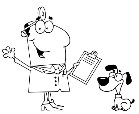 Clipart Illustration of an Outlined Vet and Dog Ilustracja