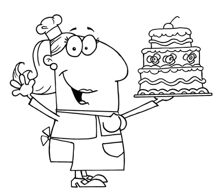 Clipart Illustration of an Outlined Cake Baker Woman Vector