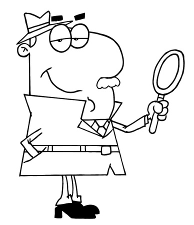 Clipart Illustration of an Outlined Male Detective