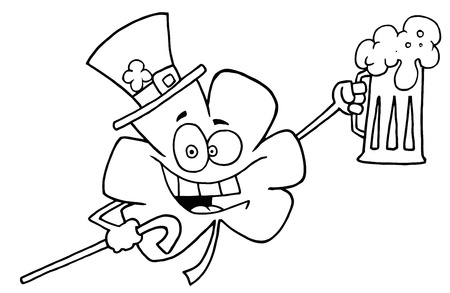 saint pattys day: Outlined Clover Holding Beer Cartoon Character