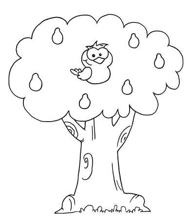 kuropatwa: Kontury Partridge na Gruszy Ilustracja
