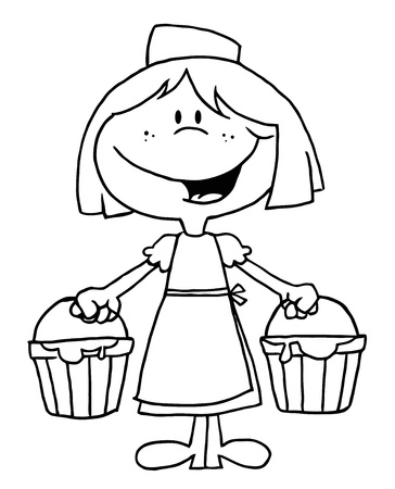 Outlined Maid With Milk Vector
