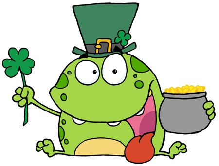 Leprechaun Frog Wearing A Hat, Holding A Clover And A Pot Of Gold Stock Vector - 16386968