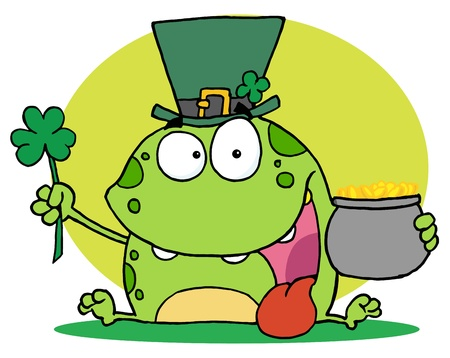 Green St Patricks Day Leprechaun Frog Wearing A Hat, Holding A Clover And A Pot Of Gold Stock Vector - 16386976