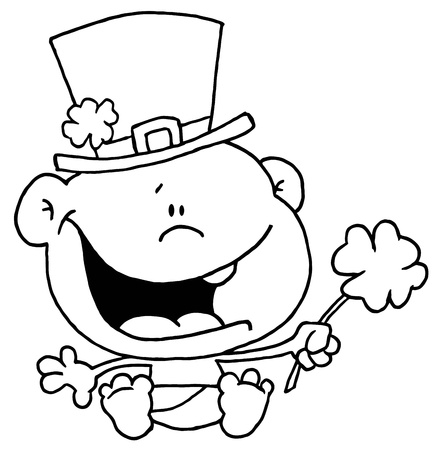 saint pattys day: Black And White Outline Of A St Patrick s Day Baby Illustration