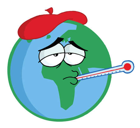 swine flu: Sick Planet Earth Wearing An Ice Pack, A Thermometer Illustration