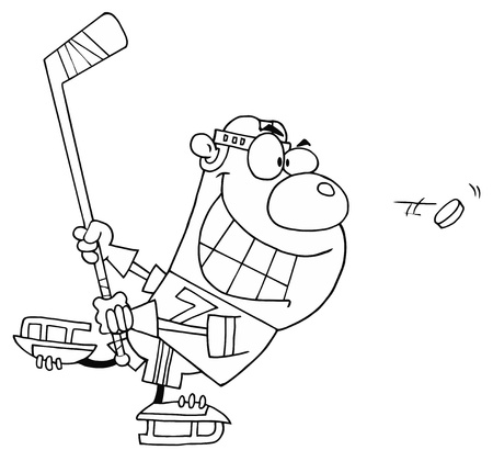 Outlined Hockey Bear Vector