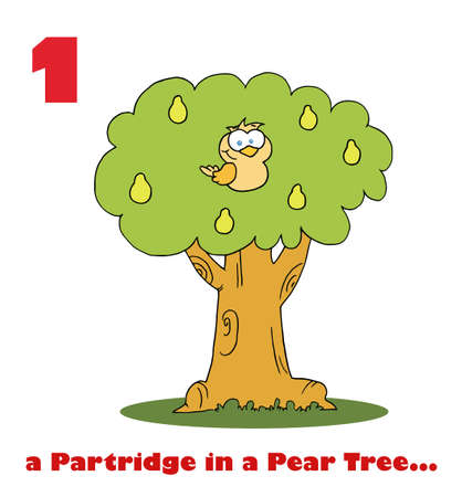 a 12: Red Number And  A Partridge In A Pear Tree  Text Under A Partridge In A Pear Tree