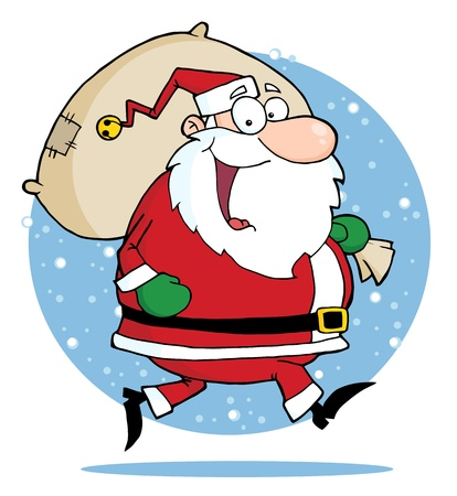 nicholas: Happy Santa Claus Runs With Bag Illustration