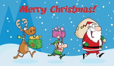 Merry Christmas Greeting With Santa Claus,Elf and Reindeer Runs With Gifts Vector