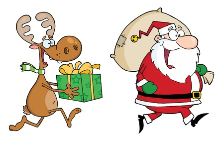 mas: Happy Santa Claus And Reindeer Runs With Gifts Illustration