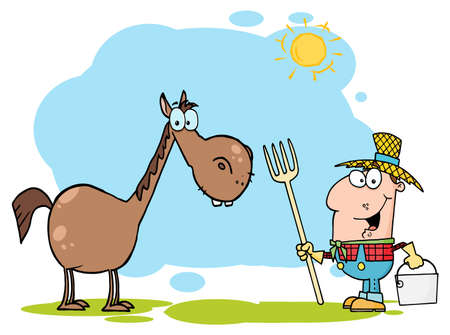 Farmer With Horse Stock Vector - 16387025