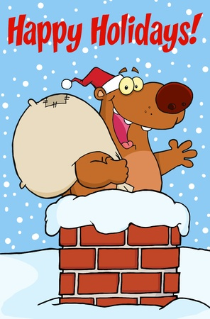 chimney: Happy Holidays Greeting With Santa Bear Waving A Greeting In Chimney