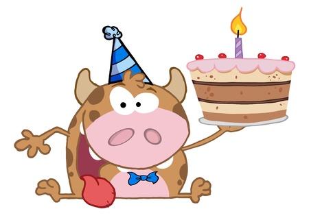 Happy Calf Cartoon Character Holds Birthday Cake