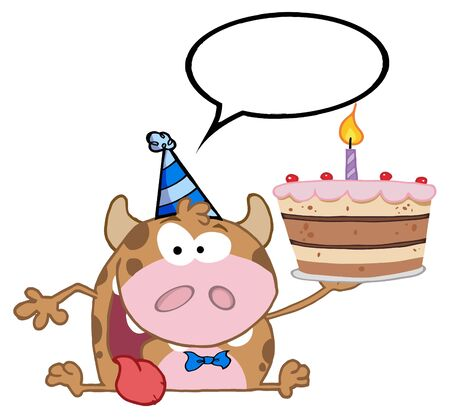 Happy Calf Cartoon Character Holds Birthday Cake And Speech Bubble Vector
