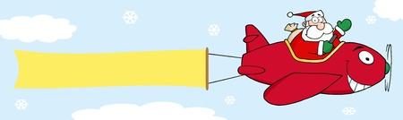 saint nick: Babbo Natale con il piano di volo e uno striscione bianco allegato