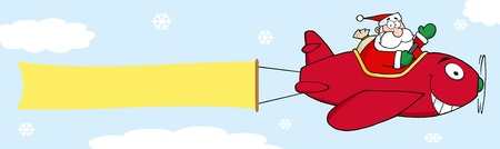 banner ads: Santa Flying With Christmas Plane And A Blank Banner Attached