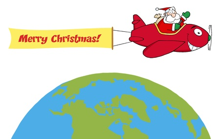 Santa Flying With Christmas Plane Above The Globe Vector