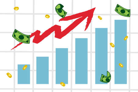 Raising Charts And Arrow With Money Vector