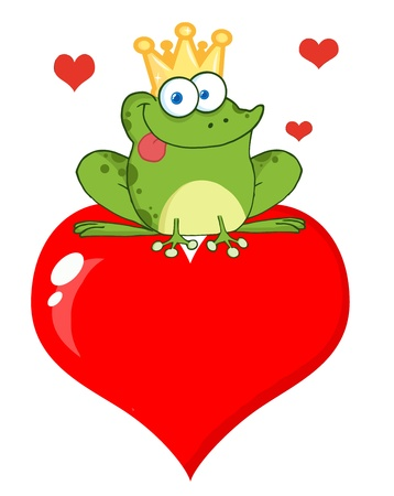 Happy Frog Prince Over Red Heart Vector