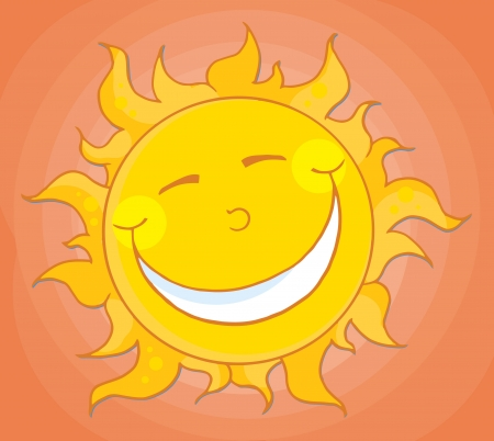 Happy Smiling Sun Mascot Cartoon Character 矢量图像