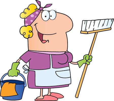 cartoon cleaner: Cleaning Lady Cartoon Character Illustration