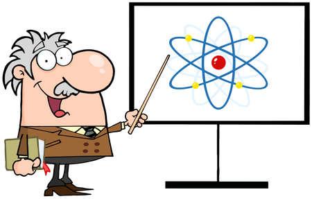 Happy Caucasian Professor Discussing An Atom Diagram Vector