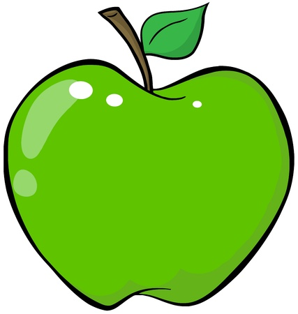Cartoon Green Apple  Illustration