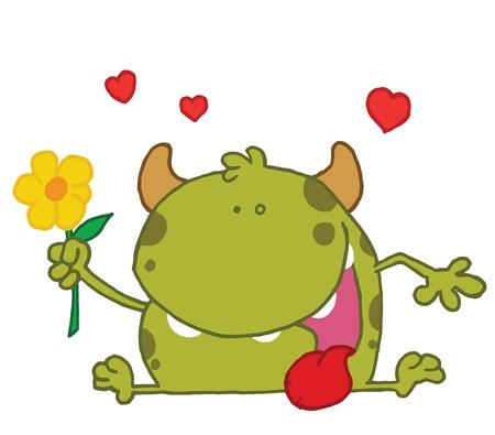 Groen Monster Met Een Gele Bloem Stock Illustratie