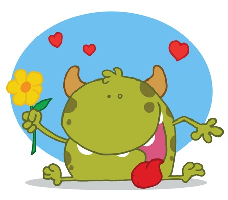 Happy Green Monster Holding A Yellow Flower Vector