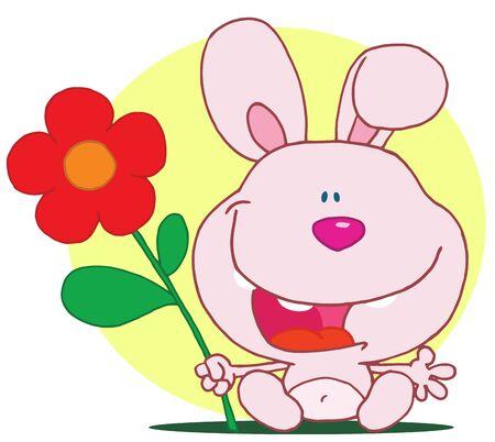 Bunny holds flower Stock Vector - 16446257