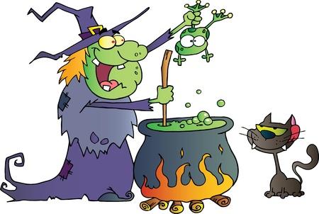 heks: Crazy Heks Met Zwarte Kat Die Een Kikker en het voorbereiden van een drankje Stock Illustratie
