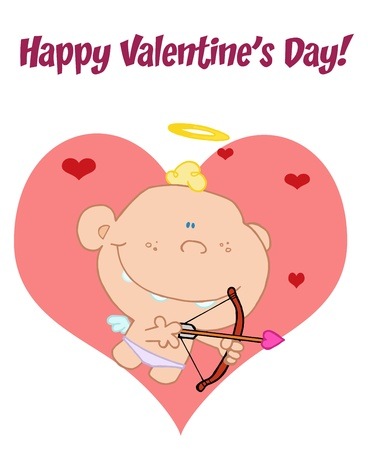 Happy Valentine s Day Greeting Over A Baby Cupid Shooting Arrows Over Big And Small Hearts Stock Vector - 16446259