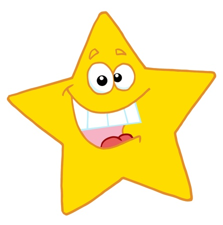 cartoon star: Happy Star Mascot Cartoon Character