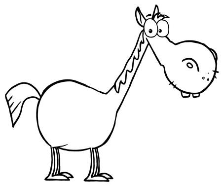 cuello largo: Colorear esquema de p�gina de un caballo corta con el cuello largo