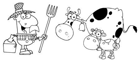 tending: Outlined Farmer Tending To His Cattle Illustration