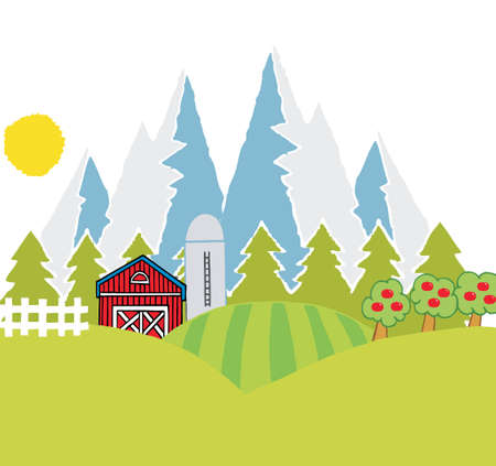 Country Mountain Farm Vector