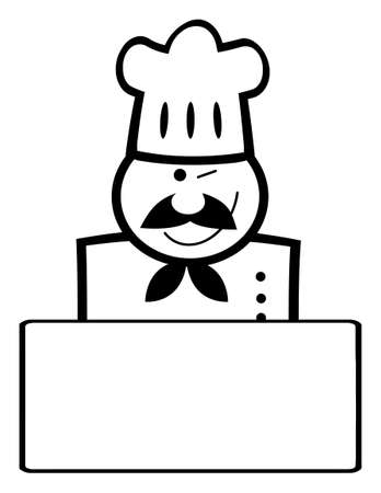 Outlined Chef Man Face Black Cartoon Mascot Banner Vector