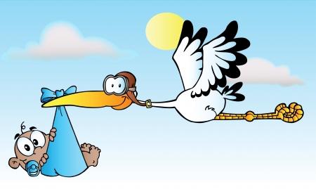 Stork Delivering Baby Boy A afro-américaine