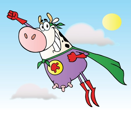 Cow Super Hero Flying To The Rescue