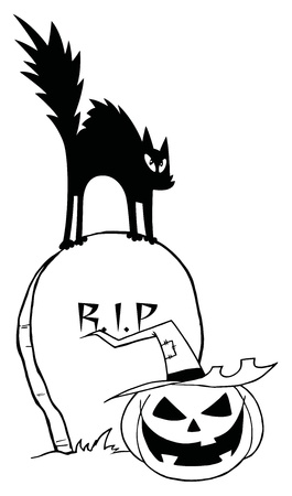 Outlined Black Cat And Jack O Lantern On A Tombstone Vector
